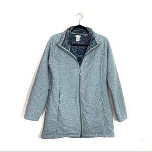L. L. Bean Gray Knit Fur Lined Zipper Coat EUC